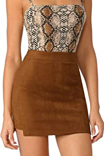 Women's Solid Bodycon Faux Suede Mini Skirt