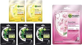 Garnier Skin Naturals Face Serum Sheet Mask (3 Charcoal + 2 Light Complete) (Pack Of 5), 220 (Pack of 5) and Garnier Skin ...