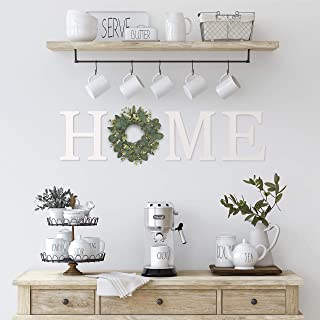 Wooden Home Letters with Wreath for Wall, Wood Home Sign Letter Cutouts, Farmhouse Home Sign with Wreath, Large Home Lette...