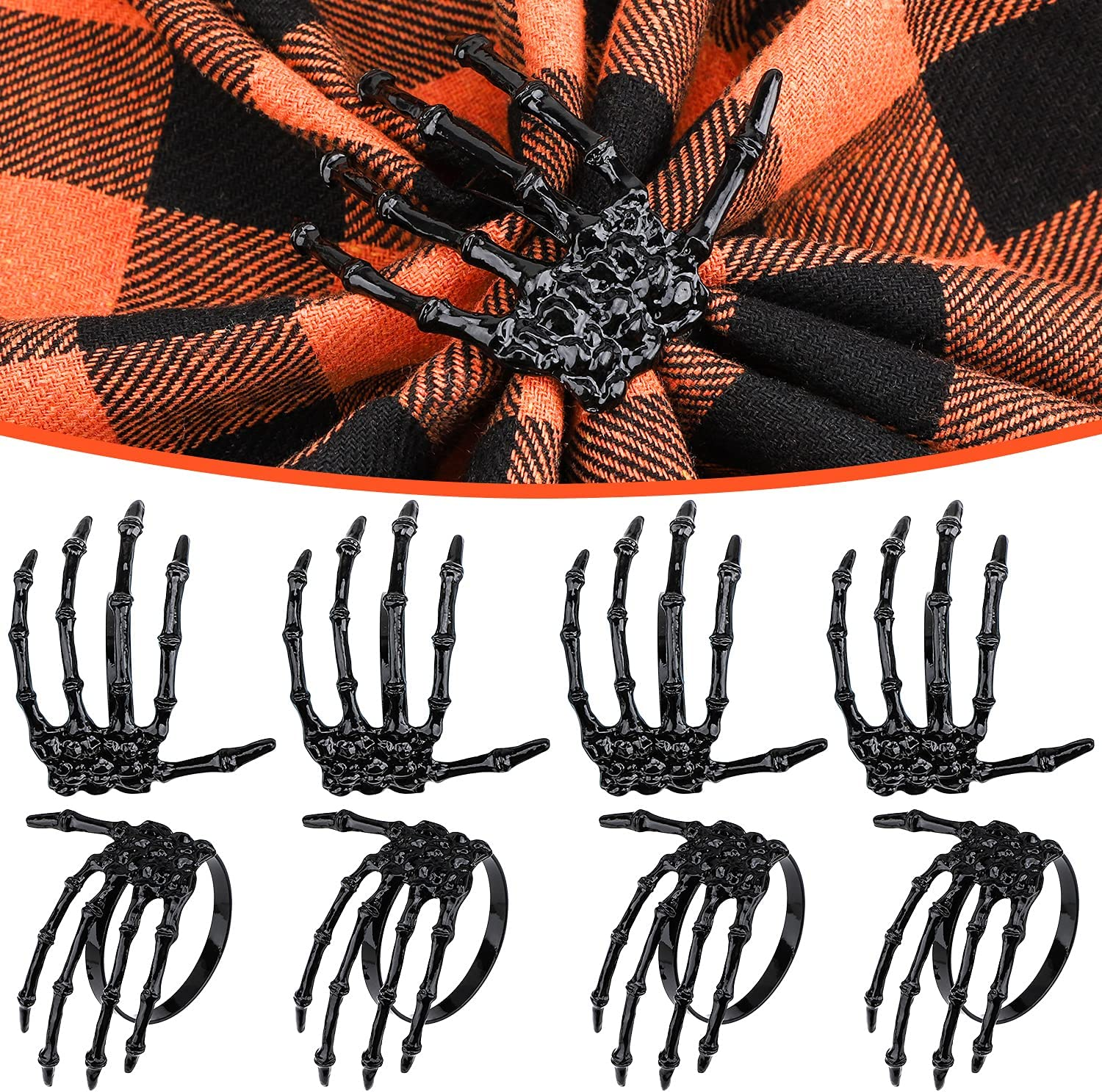 Halloween Napkin Rings Decoration 8 Pcs, Metal Rings Holders for Home Birthday Party Dinner Table Favors Supplies Halloween Bar Dinning Costume Decor (Black Skeleton Claw)