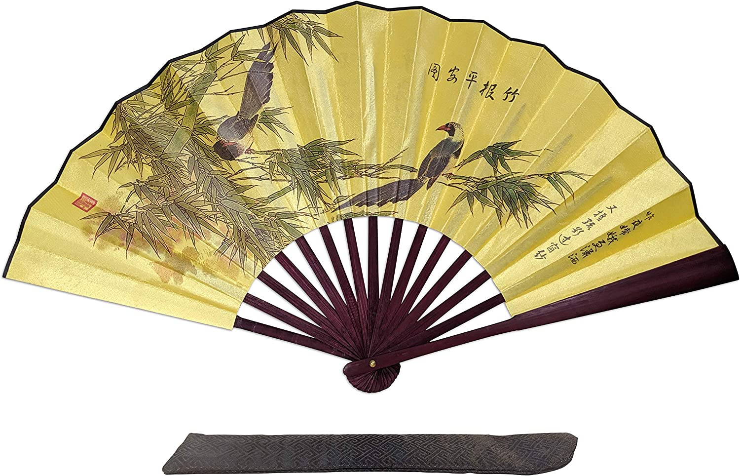 C&K Solutions Folding Hand Fan Chinese Gifts Bamboo Sheltering Birds Large Premium Quality Handheld Japanese Fans