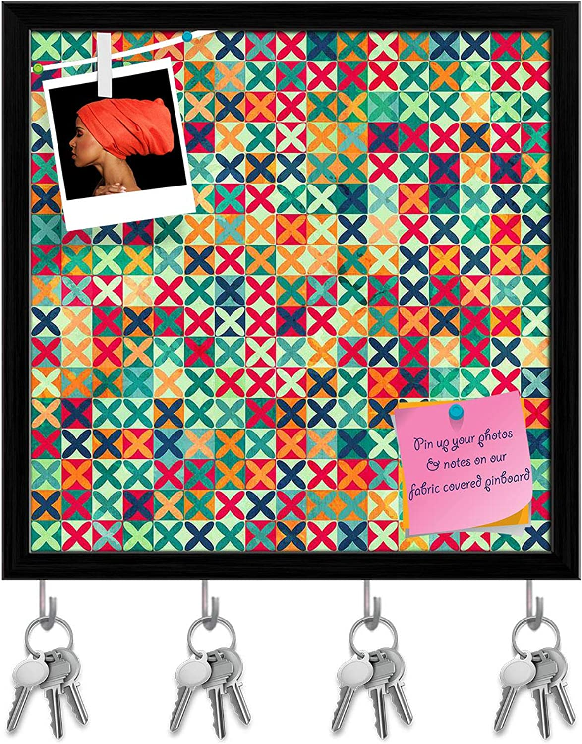 Artzfolio colord Crosses Key Holder Hooks   Notice Pin Board   Black Frame 20 X 20Inch