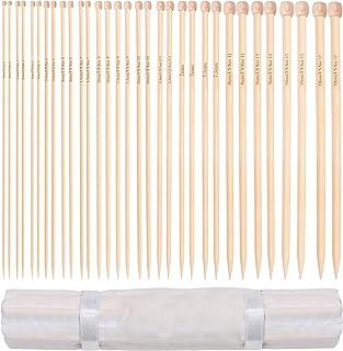Curtzy Lot d'Aiguilles a Tricoter en Bambou - 16 paires d'Aiguilles à Tricoter en Bois avec Étui de Rangement - Pointe Un...