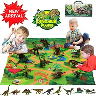 Bdwing Dinosaur Toys Set, Realistic Educational Dinosaur Toy Figure Playset with Activity Play Mat (Extra 1 Dino Booklet), Including T-Rex, Triceratops, Gift for Kids 2 3 4 5 Year Olds Boys & Girls�