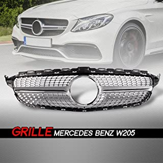 Front Diamond Style Grille Grill Trim Shell for Mercedes Benz W205 C Class C250 C300 C400 C450 AMG Sport 2015-2018 Without Camera