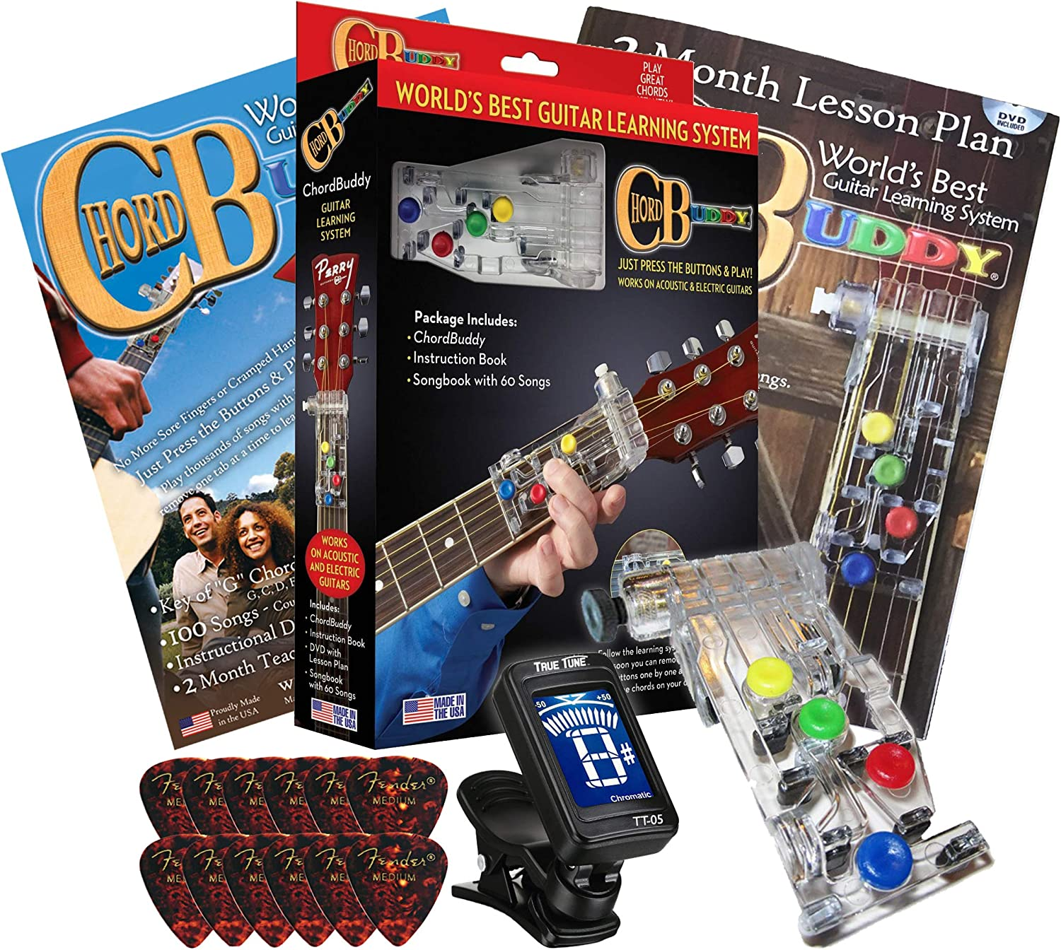 Chord Buddy Guitar Learning System with True Tune Chromatic Tuner & Picks  Package   Play Guitar Today with this Shark Tank Product