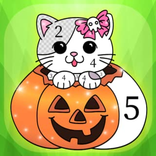 Halloween Coloring Book by Numbers