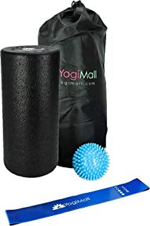YogiMall All-in-One Massage & Fitness 9 Piece Mobility Kit – Foam Rollers, Massage Stick, Lacrosse, Spiky Ball, 3 Resistance Loop Bands & Bag OR 4-in-1 Foam Roller Set for Total Body Massage
