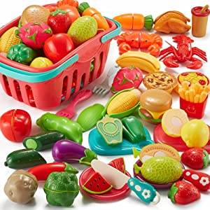Comirth Pretend Play Food Sets for Kids Kitchen 61Pc, Storage Basket Cutting Toy Food, Fake Food for Toddlers, Play Kitchen Accessories Toys with Fruits Vegetables, Educational Gift for Girls Boys