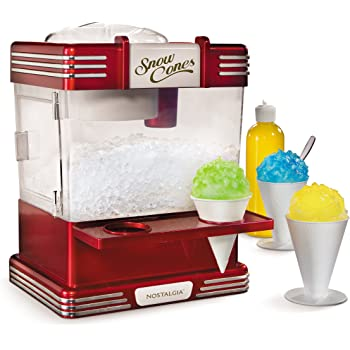 Nostalgia RSM602 Countertop Snow Cone Maker Makes 20 Icy Treats, Includes 2 Reusable Plastic Cups & Ice Scoop, Retro Red