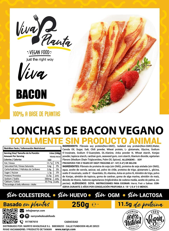Tiras de Bacon Vegano 250g, Viva Planta | Vegan | Sin carne ...