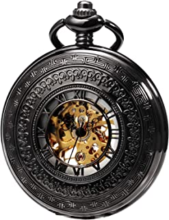 MORFONG Men's Hand-Wind Mechanical Pocket Watch Vintage Steampunk Fob Watches Hollow Design with Chain and Gift Box