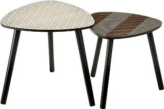 Zons - Juego de mesa auxiliar con patas claras madera y gris color gris