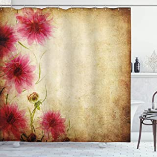 Ambesonne Floral Shower Curtain, Retro Flowers on Old Grunge Paper Background Nostalgic Background Bouquet Print, Cloth Fabric Bathroom Decor Set with Hooks, 75