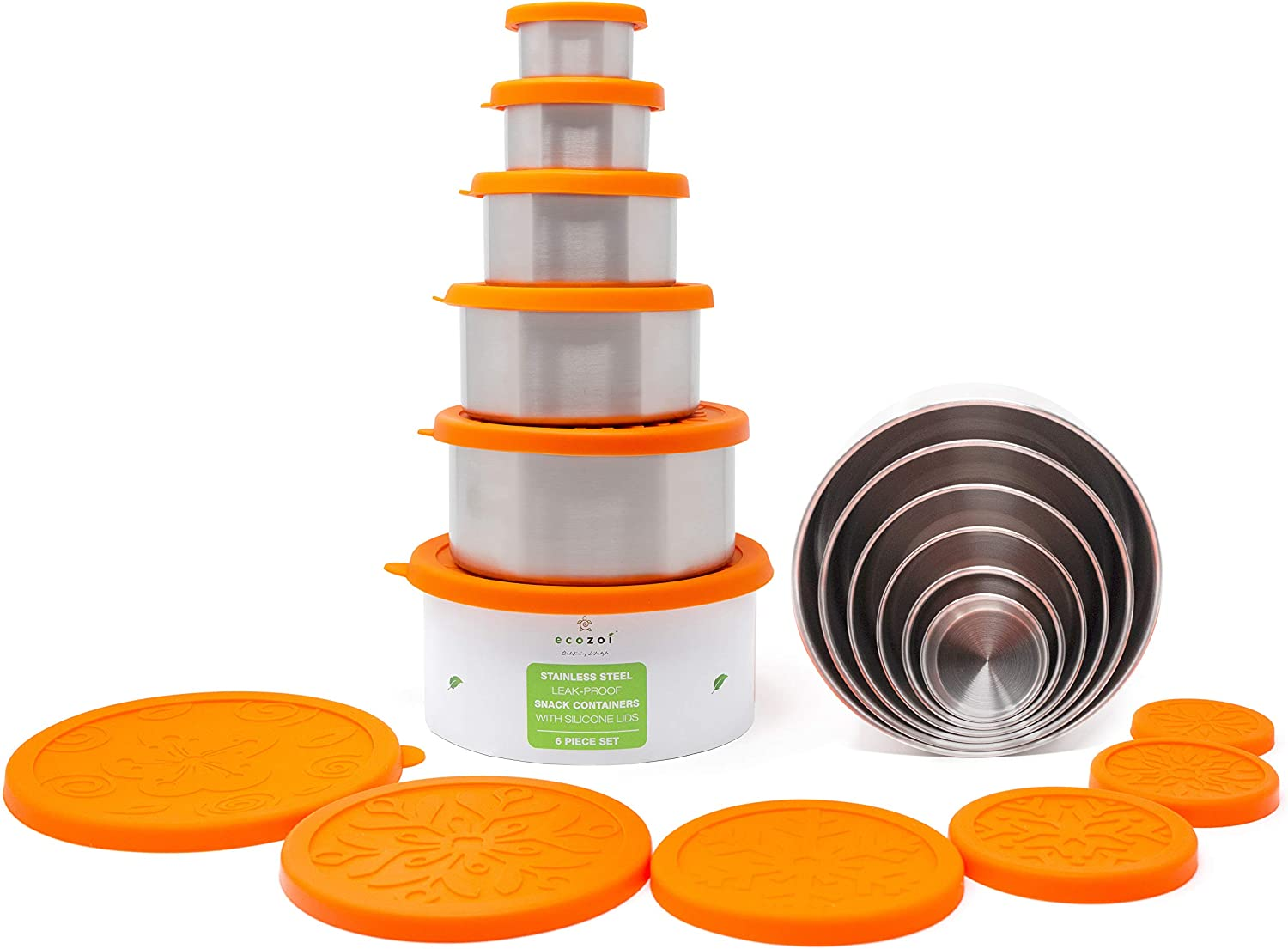 ecozoi Stainless San Jose Mall Steel Food Storage Containers Lunch Proof Leak Don't miss the campaign