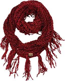 C.C Women's Soft Solid Chenille Net Fringed Tassel Infinity Wrap Scarf