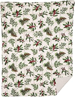 C&F Home Winter Botanical Holly Mistletoe Pinecone Winter Holiday Christmas Throw Blanket Cotton Soft Cozy for Couch Sofa Bed 48 x 60 Throw
