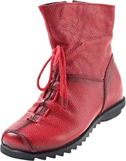 Mordenmiss Women's Cap Toe Boots Handmade Ankle Oxford with Side Zipper