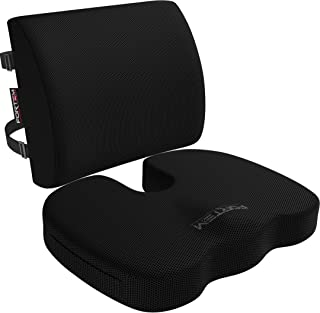 FORTEM Seat Cushion & Lumbar Support for Office Chair, Car, Wheelchair, Memory Foam..