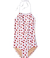 Toobydoo - Red Poppy Flower One-Piece Bathing Suit with Adjustable Neck Tie (Infant/Toddler/Little Kids/Big Kids)