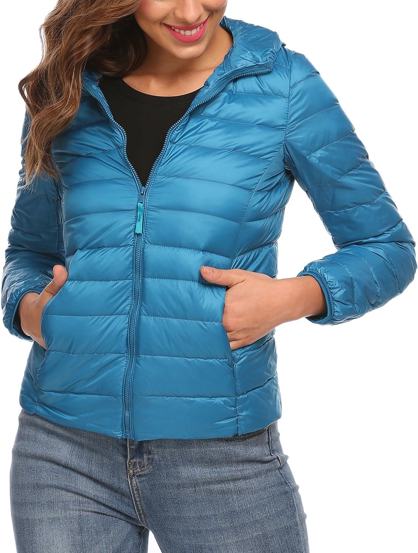 Zeagoo Women's Packable Ultra Light Weight Hooded Short Down Jacket