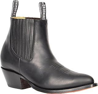 House of Luggage Bottes Chelsea en Cuir Véritable pour Hommes Style Cowboy Bout Pointu Chaussures Cheville HLG06MAL