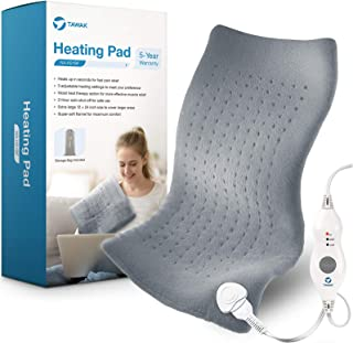 Heating Pad, TAWAK Upgrade Electric Fast Heating Pad for Pain Relief, Dry&Moist Heat Therapy Option Heating Pad with Adjus...
