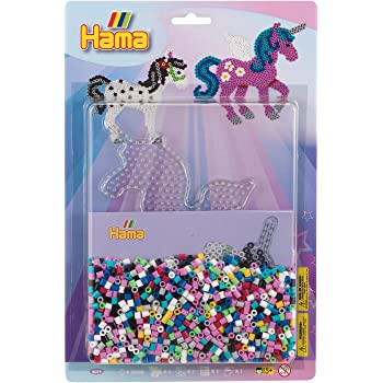 Fee,Prinzessin Hama Midi Plaque Set 25 100 Gratis Perlen Auf dem Ponyhof Set Pferd,321 Poney,Einhorn