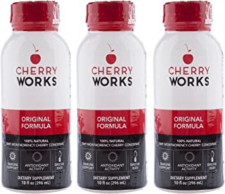 CHERRYWORKS Original Tart Cherry Concentrate, 16 oz. Pack of 3