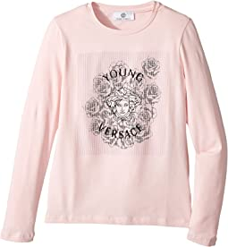 Versace Kids - Long Sleeve T-Shirt w/ Medusa Rose Design On Front (Big Kids)