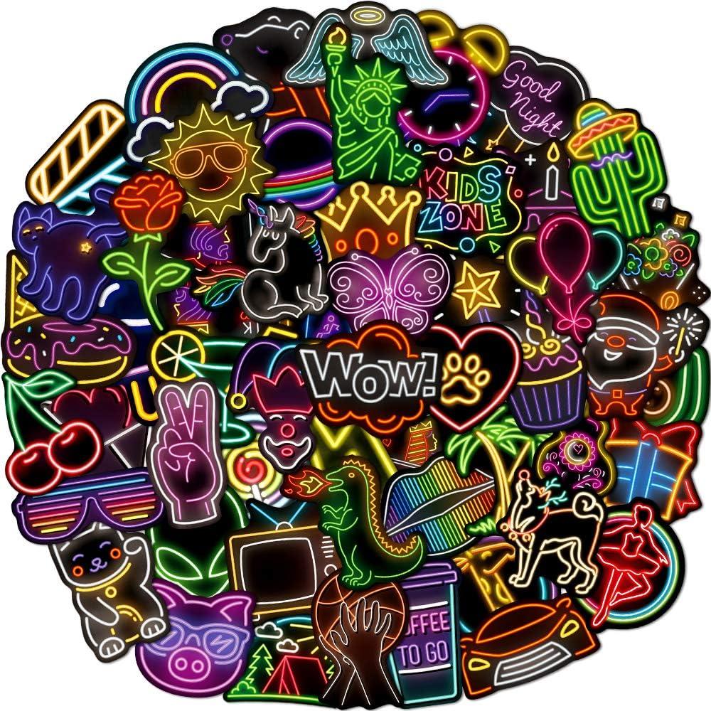 80 Pcs Cool Neon Sign Vinyl Stickers for Kids Teens Waterproof Water Bright