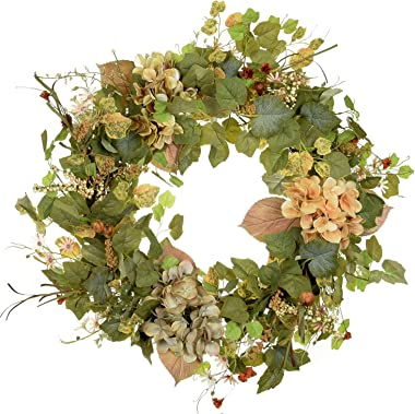 POETIC WREATH Fall Wreath,Large 24-inch Wreath,Green Grapevine Wreath.Year Round Wreath.Spring Wreath.Summer Wreath.Front Doo