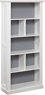 Target Marketing Systems Holland Bookcase with 5 Shelves and a Reversible Back Panel of Either Solid Gray or White with Beige Stripes, Antique White