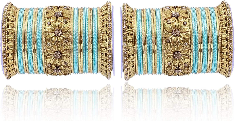 SANARA Indian Bollywood Antique Golden Crystal Kada 54 pcs Bridal Wedding & Party Wear Bangle Bracelet Set Jewelry