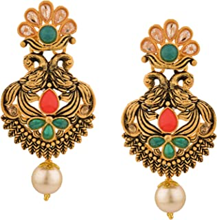 Boho Vintage Antique Gold Ethnic Gypsy Tribal Indian Bollywood Crystal Pearl Drop Dangle Earrings Jewelry Set