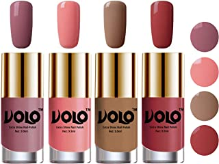 Volo Nail Polish Sets (4 Bottles) High Shine Smooth Long Lasting Nail Paints Combo Exceptionally Shine (Nudes Spring, Cand...