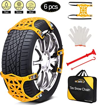 """Snow Chains, Anti Slip Snow Chains for SUV/Cars/Trucks/ATV Adjustable Anti-Skid Emergency Tire Straps, 6 Pcs Snow tire Chains, Suitable for Tire Width 6.5""""-10.8""""(165mm-275mm),Car Chains for Snow: image"""