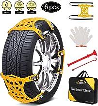 Snow Chains, Anti Slip Snow Chains for SUV/Cars/Trucks/ATV Adjustable Anti-Skid Emergency Tire Straps, 6 Pcs Snow tire Cha...