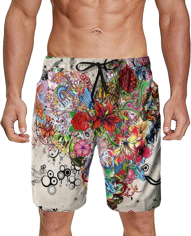 Men Teen Boys Swim Trunks Quick Dry Beach Board Shorts with Mesh Lining
