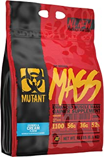 MUTANT MASS Weight Gainer Protein Powder with Whey, and Casein Protein Blend for High-Calorie Workout Shakes, Smoothies, and Drinks, 15 lb - Cookies & Cream