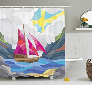 Printing Modern Shower Curtain, Sun Sky Clouds Sail Boat on The Sea Vitray Style Fractal Landscape Funky Picture, Polyester Fabric Shower Curtain for Bathroom, 72 x 72 Inches Pink Blue