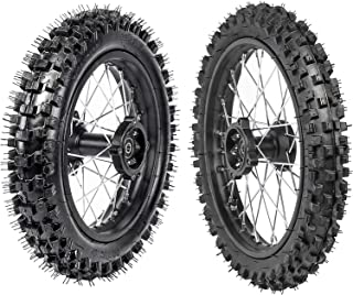 WPHMOTO Front Tire 60/100-14 & Rear Tire 80/100-12 Disc Brake Wheel Rim With 12mm Bearing for Pit Dirt Bike
