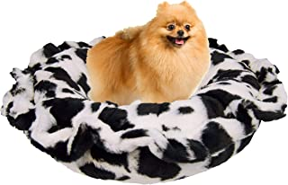 product image for Bessie and Barnie Ultra Plush Spotted Pony/ Snow White Deluxe Luxury Shag Dog/Pet Lily Pod Bed Machine Washable