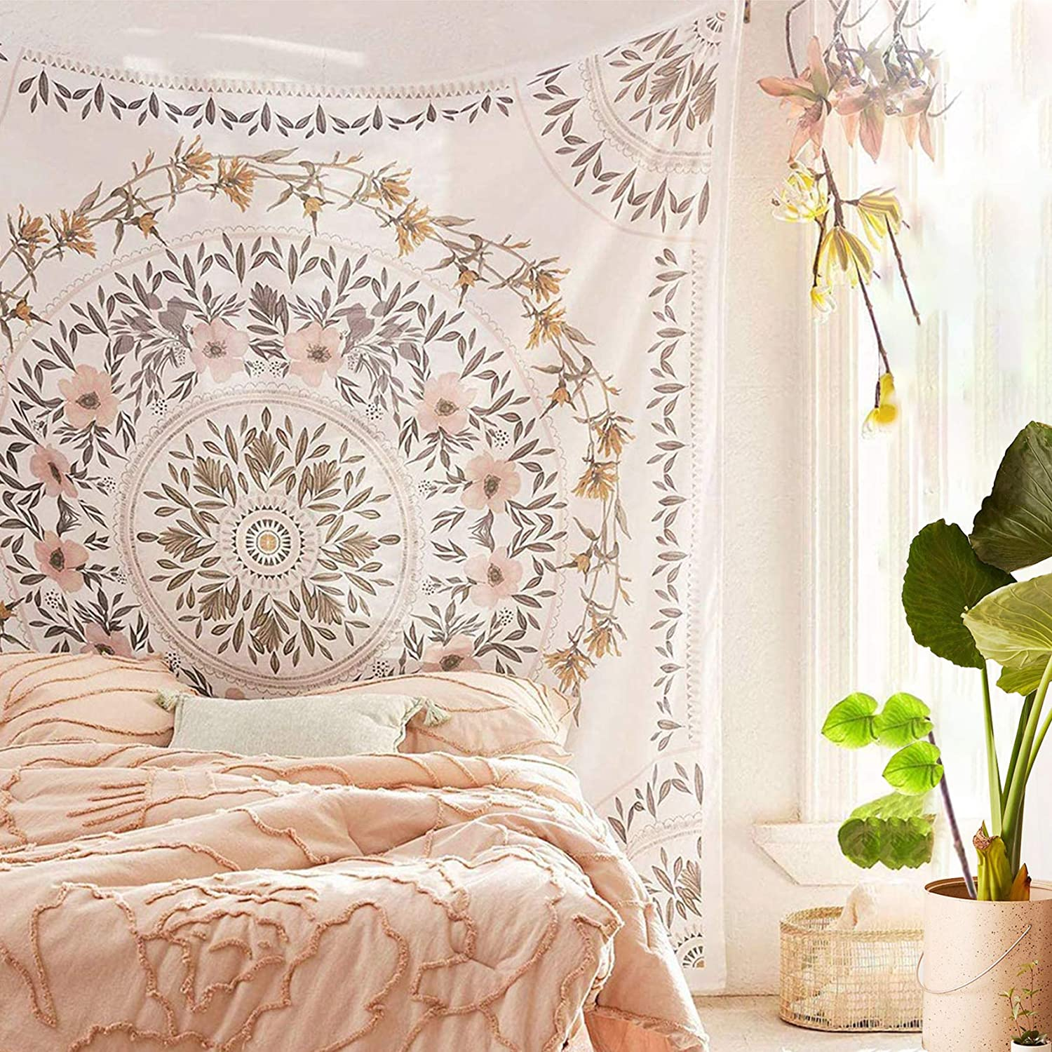 Long-awaited Simpkeely Sketched Floral Medallion Bohemian Mandala Tapestry New life W