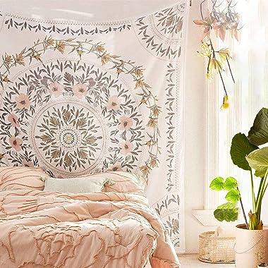 Simpkeely Sketched Floral Medallion Tapestry, Bohemian Mandala Wall Hanging Tapestries, Indian Art Print Mural for Bedroom Li