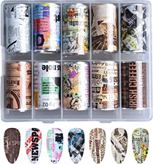 Kalolary Krant Nagelfolie Sticker, Holografische Nail Foil Transfer Sticker Krant Letters Patroon Nagelkunst Sticker Nagel...