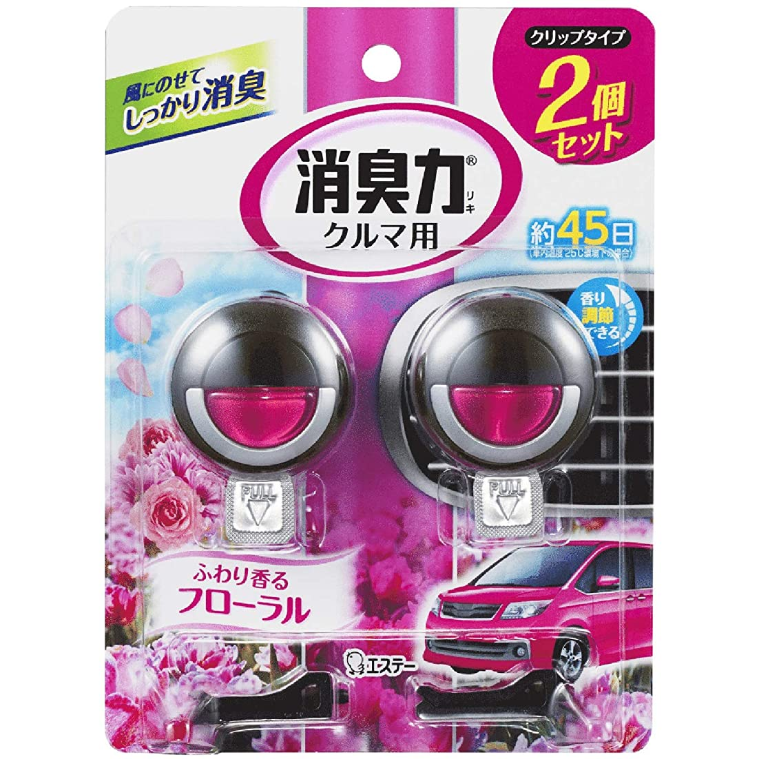カウボーイジョージバーナードテメリティクルマの消臭力 クリップタイプ 消臭芳香剤 車用 フローラルの香り 2個セット