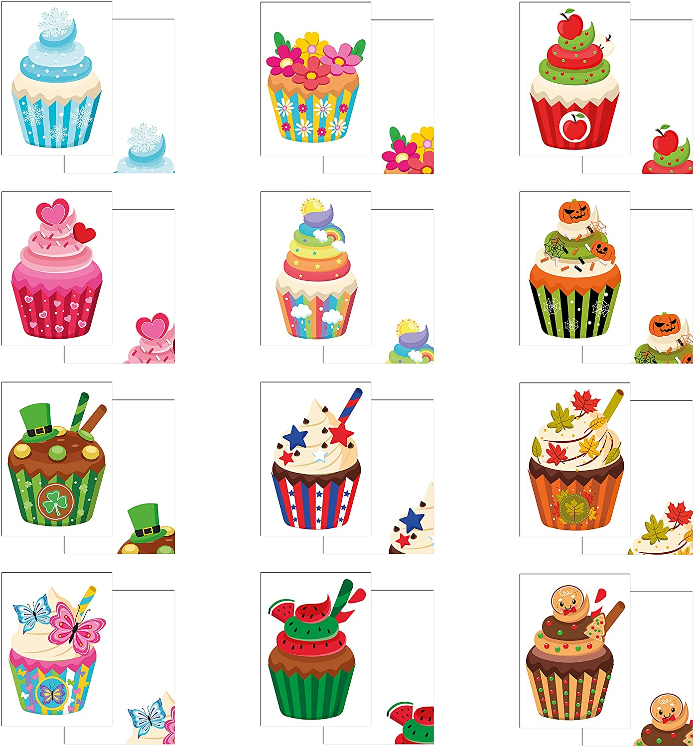 Year of Cupcakes - Pack 48 Max 85% OFF Flat Bargain Cards Note Envelopes with 1