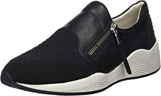 GEOX Womens Trainers D Omaya A Leather Casual Shoes - Black