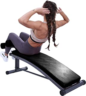 Finer Form -Upgraded- Sit Up Bench | Reverse Crunch Handle for Ab Exercises | Gym Quality | Reverse Crunch and Decline Sit Up with 3 Adjustable Height Settings
